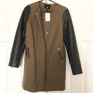 H&M Army Green Quilted Leather Coat